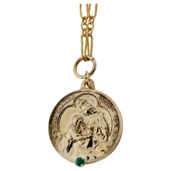 Emerald Virgin Mother Mary Medal Chunky Chain Necklace Gold J Dauphin