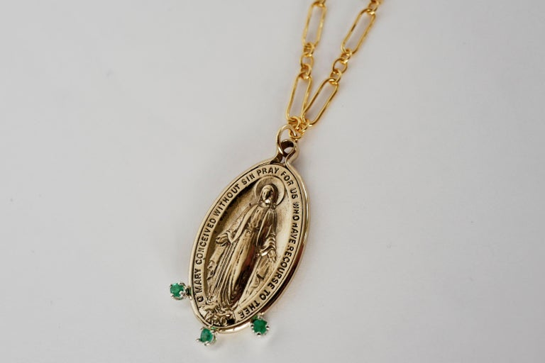 Emerald Gem Virgin Mary  Medal Coin Oval Miraculous Chain Necklace J Dauphin For Sale 2