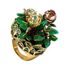 Emerald Water Opal Demantoid Garnet Pink Tourmaline Diamond 18 Karat Gold Ring