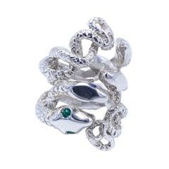 Emerald White Diamond Cocktail Statement Snake Silver Ring J Dauphin