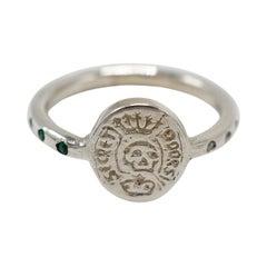 Emerald White Diamond Crest Signet  Ring Memento Mori Sterling Silver Skull
