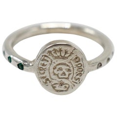 Emerald White Diamond Crest Signet  Ring Memento Mori Sterling Silver Skull