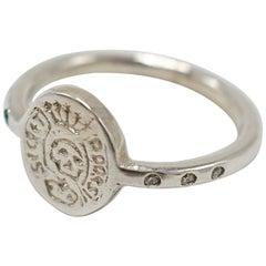 Emerald White Diamond Crest Signet Skull Ring Memento Mori Style Silver