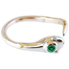 Emerald White Diamond Gold Snake Ring Victorian Style Cocktail Ring J Dauphin