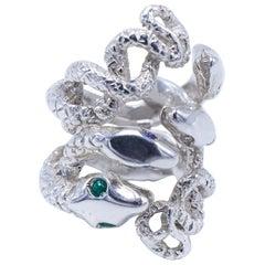 Emerald White Diamond Sapphire Tanzanite Snake Ring Sterling Silver J Dauphin