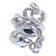 Cocktail Statement Snake Silver Ring Emerald White Diamond J Dauphin