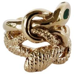 Emerald White Diamond Snake Ring Ruby Victorian Style Bronze J Dauphin
