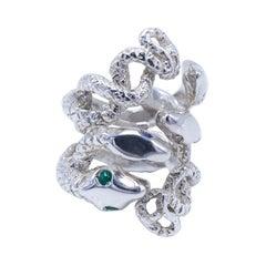 Emerald White Diamond Snake Ring Sterling Silver Sapphire Tanzanite J Dauphin