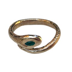 Emerald White Diamond Snake Ring Victorian Style Bronze J Dauphin