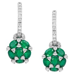 Emerald White Diamond White Gold Statement Earrings