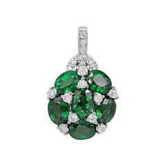 Emerald White Diamond White Gold Statement Pendant