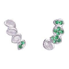 Emerald White Gold Stud Earrings