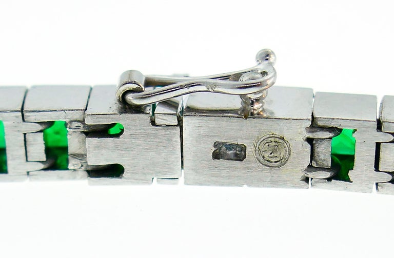 Emerald White Gold Tennis Line Bracelet Duo, Meister, 1970s For Sale 6