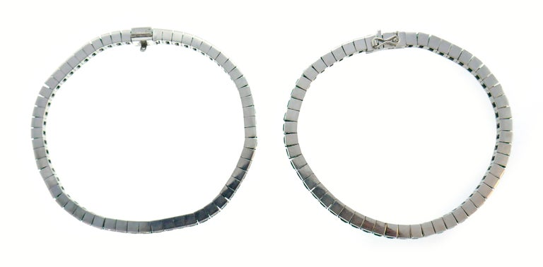 Emerald White Gold Tennis Line Bracelet Duo, Meister, 1970s For Sale 4