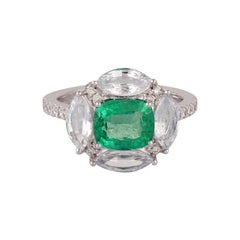 Emerald White Sapphire Diamond Ring in 18 Kt White Gold