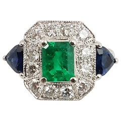 Emerald with Blue Sapphire and Diamond Ring Set in Platinum 900 Settings