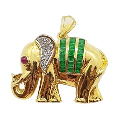 Emerald with Diamond and Cabochon Ruby Brooch/Pendant Set in 18 Karat Gold