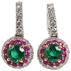 Emerald with Diamond and Pink Sapphire Earrings Set in 18 Karat White Gold