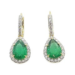 Emerald with Diamond Earrings Set in 18 Karat Gold Settings