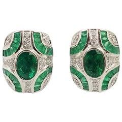 Emerald with Diamond Earrings Set in 18 Karat White Gold Settings