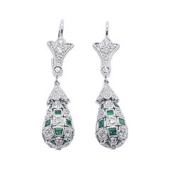 Emerald with Diamond Earrings Set in 18 Karat White Gold Settings