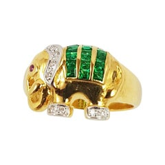 Emerald with Diamond Elephant Ring Set in 18 Karat Gold Settings