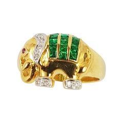 Emerald with Diamond Elephant Ring Set in 18 Karat Gold Settings