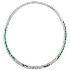 Emerald with Diamond Necklace Set in 18 Karat White Gold Settings
