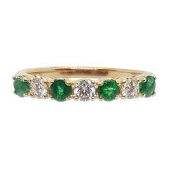 Emerald with Diamond Ring Set in 18 Karat Rose Gold Settings