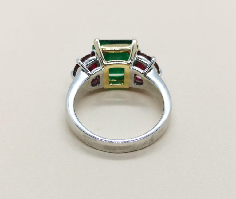 Square Cut Emerald with Ruby Ring Set in Platinum 950 Settings For Sale