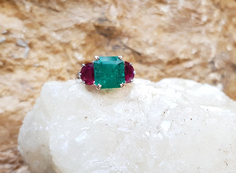 Women's Emerald with Ruby Ring Set in Platinum 950 Settings For Sale