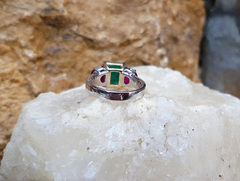 Emerald with Ruby Ring Set in Platinum 950 Settings For Sale 2