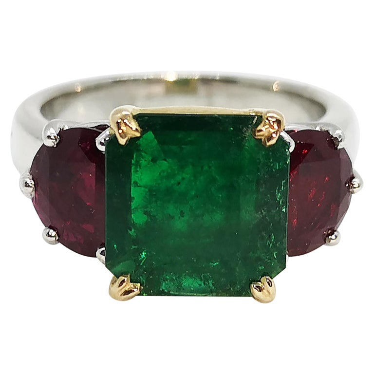 Emerald with Ruby Ring Set in Platinum 950 Settings For Sale