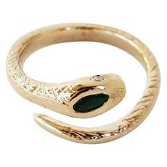 Emerald White Diamond Gold Snake Ring Victorian Style J Dauphin