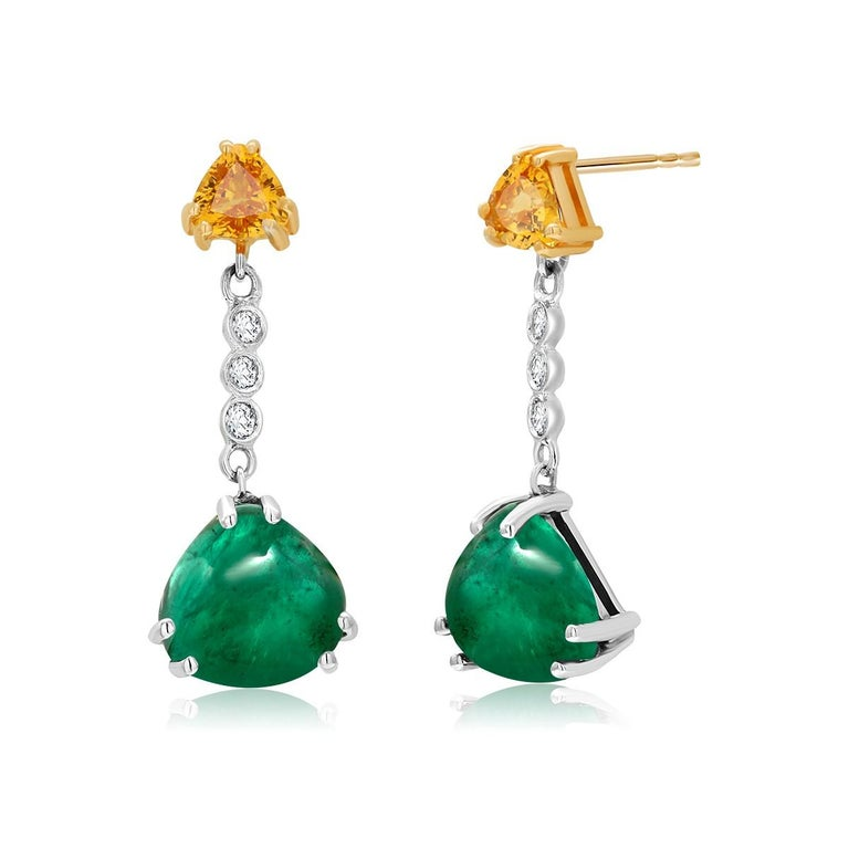 Trillion Cut Cabochon Emerald Yellow Sapphire Diamond Gold Drop Earrings Weighing 5.81 Carat For Sale