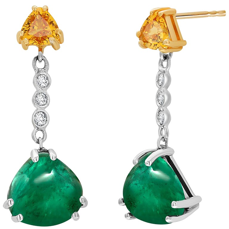 Contemporary Cabochon Emerald Yellow Sapphire Diamond Gold Drop Earrings Weighing 5.81 Carat For Sale