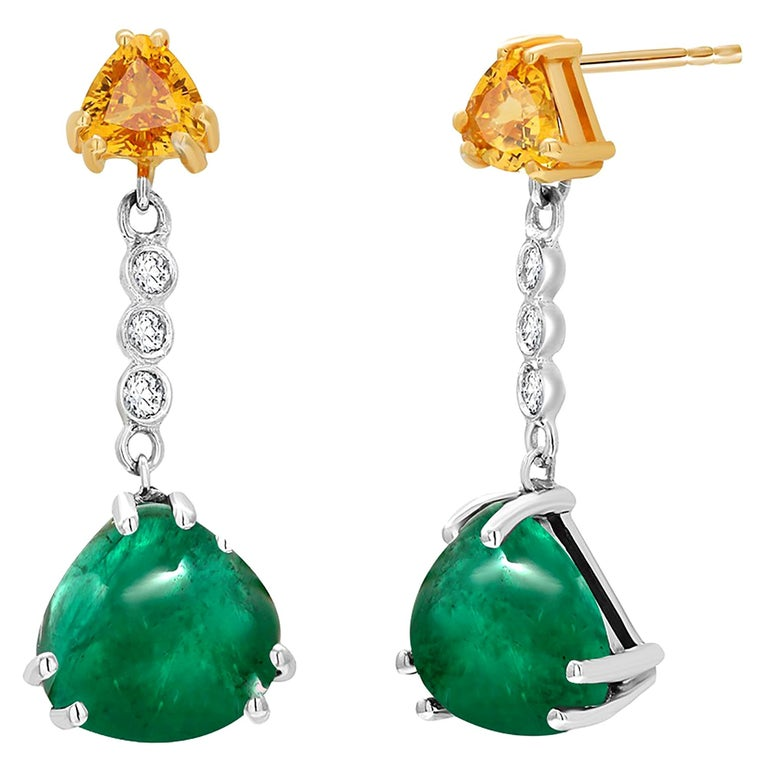 Cabochon Emerald Yellow Sapphire Diamond Gold Drop Earrings Weighing 5.81 Carat For Sale