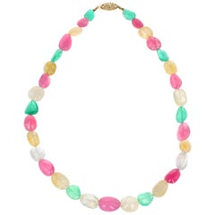 Emerald Yellow Sapphire and Pink Tourmaline Yellow Gold Necklace