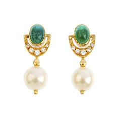 18K Gold Emerald Cultured Pearl and Diamond Earrings