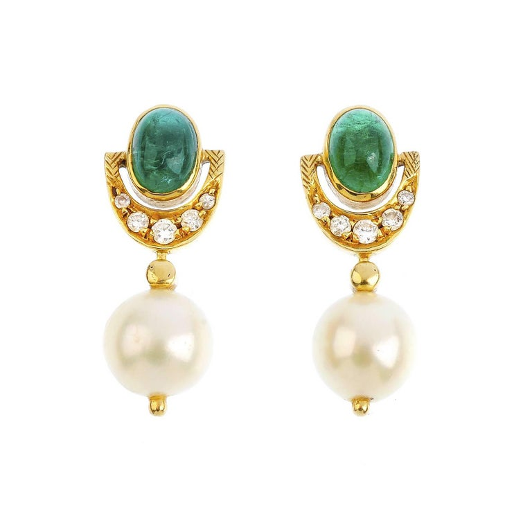 18K Gold Emerald Cultured Pearl and Diamond Earrings For Sale