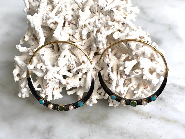 Women's Emerald, Turquoises, Pearls, 14K Gold Oxidized Serling Silver Hoop Earrings For Sale