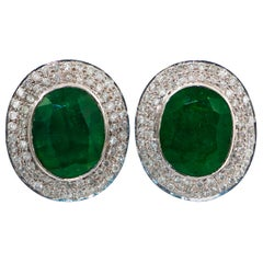 Emeralds 12.5 Carat with 2.1 Carat of Diamonds 18 Karat Gold Earrings
