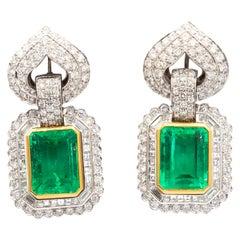 Emeralds 40+ Carat and Diamonds 12.5 Carat Earrings 18 Karat White Gold