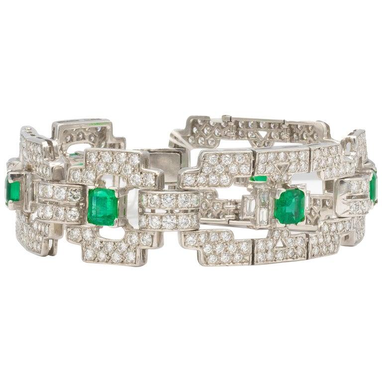 Emeralds 4.80 Carat and Diamonds 7.80 Carat Platinum Bracelet For Sale
