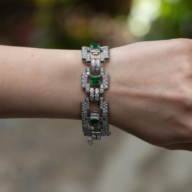 Beautiful Platinum Bracelet. Extremely Classy and Delicate, and will Definitely be the Favorite at the Cocktail Party. Very Fine Emeralds = 4.80 Carats  Diamonds = 7.80 Carats ( Color: G, Clarity: VS ) Metal: Platinum Length: 7 Inches Jewelry Gift