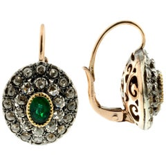 Emeralds and Diamonds Earrings and Cocktail Ring Set in 925 Silver and 9k Gold