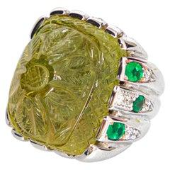 Emeralds Beryl Gem Diamonds 18 Karat White Gold Carved Cocktail Ring