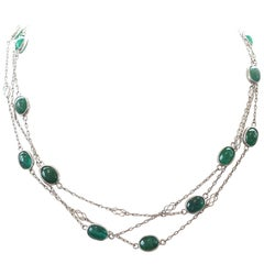Emeralds by the Yard Platinum Necklace