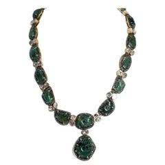 Emeralds Diamond Roses Silver-Gilt Necklace Pendant