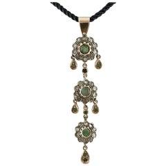 Emeralds, Diamonds, 14 Karat Rose Gold and Silver Pendant Necklaces